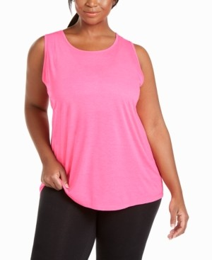 Ideology Plus Size Mesh-Inset Tank Top, Created for Macy's