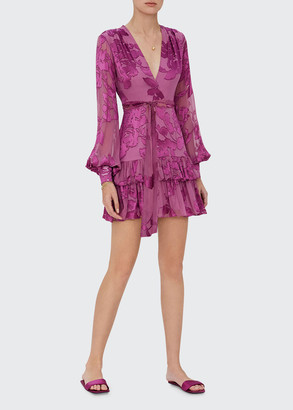 Alexis Emma Tiered Floral Blouson-Sleeve Dress