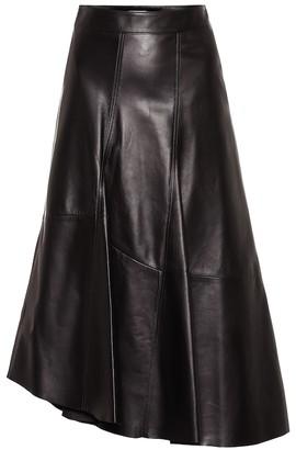 Brunello Cucinelli Asymmetrical leather midi skirt