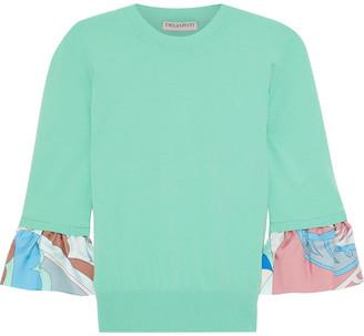Emilio Pucci Printed Twill-trimmed Silk Sweater
