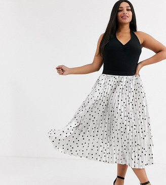 Outrageous Fortune Plus pleated midi skirt in metallic polka print