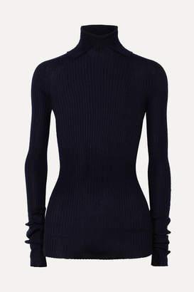 Jil Sander Ribbed Cashmere And Silk-blend Turtleneck Sweater - Navy