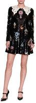 Dolce & Gabbana Jewel-Embellished Lace-Collar Paillette Minidress, Black