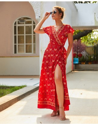 FS Collection Bohemian Style Wrap Maxi Dress In Red & Gold Floral Print