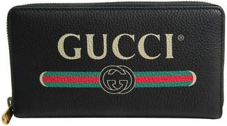 Gucci Black Printed Leather Zip Around Wallet