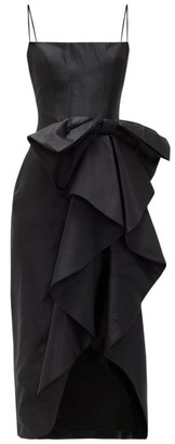 Rasario Bow-front Satin Dress - Black