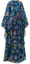 Etro Floral-print Cape-sleeve Silk-blend Maxi Dress - Womens - Blue Multi