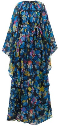 Etro Floral-print Cape-sleeve Silk-blend Maxi Dress - Blue Multi