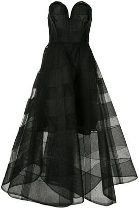 Christian Siriano Belted Checked Mesh Dress