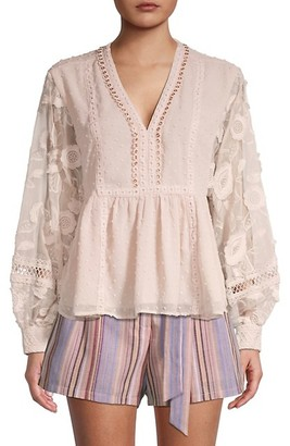 Allison New York Floral Embroidered Top