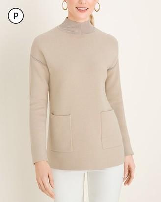Chico's Petite Milano-Stitch Mock-Neck Pullover Sweater