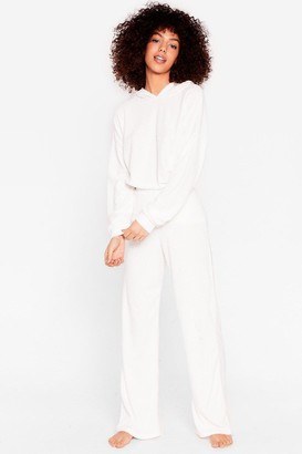 Nasty Gal Womens Get It Together Knit Hoodie and Wide-Leg Pant Set - Cream