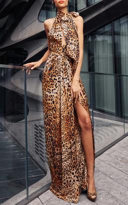Naeem Khan Leopard Print Halter Gown With Slit