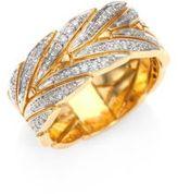 John Hardy Modern Chain Diamond & 18K Yellow Gold Ring