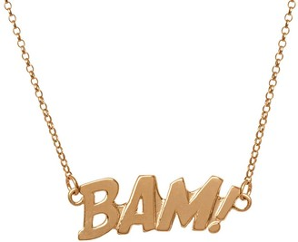 Edge Only Bam Letters Necklace In Gold   A Pop Art Statement Necklace BAM!