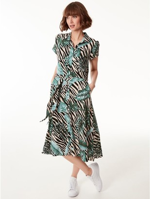 M&Co Animal palm print midi shirt dress