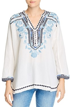 Johnny Was Vedera Embroidered V-Neck Top