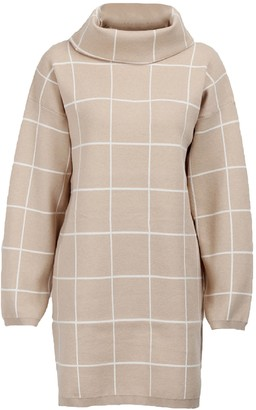 Goodnight Macaroon 'Norah' Turtleneck Checked Sweater Dress (2 Colors)
