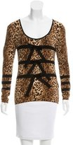 Blumarine Bow-Accented Leopard Print Top