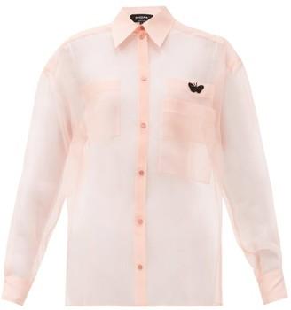 Rochas Butterfly-embroidered Silk-organza Shirt - Light Pink