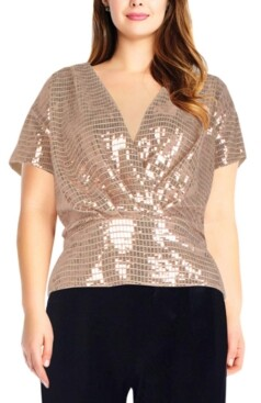 Adrianna Papell Size Sequinned Top