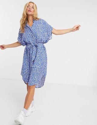 Monki Ninni leopard print belted mini shirt dress in blue