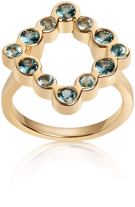 Parker Hi June Jewelry New York Kite Shape Aquamarine & Blue Topaz Ring