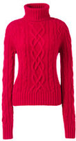 Lands' End Women's Cashmere Aran Turtleneck Sweater-Vicuna