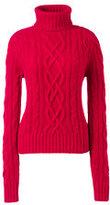 Lands' End Women's Cashmere Aran Turtleneck Sweater-Vicuna