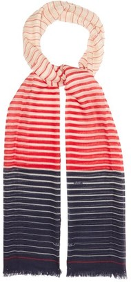Valentino Striped Cashmere-blend Scarf - Womens - Red Navy