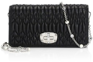 Miu Miu Crystal-Embellished Matelasse Leather Crossbody Bag