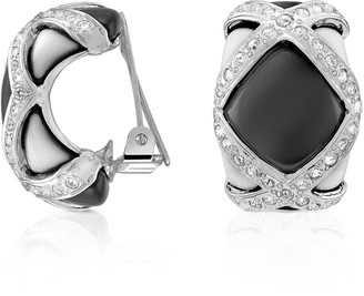 A-Z Collection Black & White Clip On Earrings
