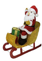 Asstd National Brand 29.5 Lighted Tinsel Santa Claus In Sleigh Yard Art