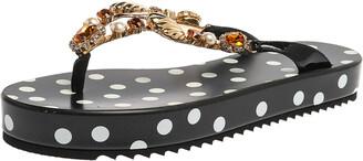 Dolce & Gabbana Black Polka Dots Patent Leather Jewel Embellished Beach Platform Slide Sandals Size 40