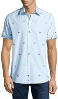 Robert Graham Hot Rod Short-Sleeve Sport Shirt, Teal