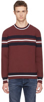 Diesel Black Gold Burgundy Stripe Crewneck Sweater