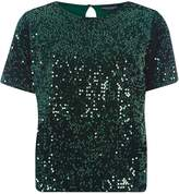 Dorothy Perkins Green Sequin Embellished T-Shirt