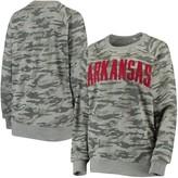 Unbranded Women's Pressbox Camo Arkansas Razorbacks Gulfport Applique French Terry Crew Neck Sweatshirt