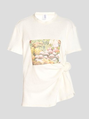 Rosie Assoulin Short Sleeve Produce Print Knotted Tee