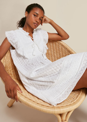 Pintuck Frill Cotton Dress