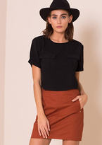 Missy Empire Kaia Black Short Sleeved Utility Crop Top