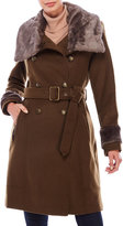 Vince Camuto Wool-Blend Military Coat with Faux Fur Trim