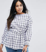 New Look Plus New Look Curve Check Belted Top
