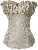 Miss Moly Women Vintage Overbust Corset Bustier Lingerie Lace Up Costume Grey Size 6XL