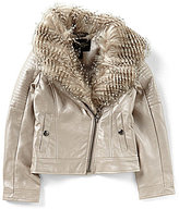 Jessica Simpson Big Girls 7-16 Faux-Fur Collar Faux-Leather Jacket