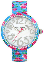 Betsey Johnson Rose Analog Stainless Steel Expansion Band Bracelet Watch
