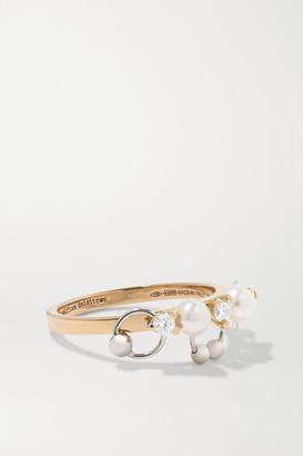 Delfina Delettrez 18-karat Yellow And White Gold, Diamond And Pearl Ring - 7