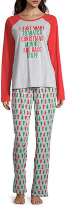 North Pole Trading Co. Christmas Wish Family Womens Pant Pajama Set 2-pc. Long Sleeve