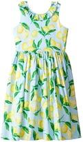 Oscar de la Renta Childrenswear - Painted Lemons Cotton V-Back Dress Girl's Dress