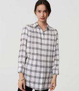 LOFT Plaid Shirred Tunic